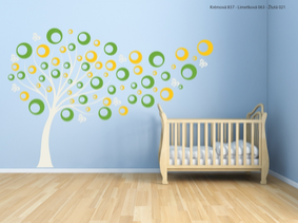 Samolepka na zeď Dětský strom s barevnými bublinkami