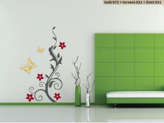 Samolepka na zeď Keř s motýlky